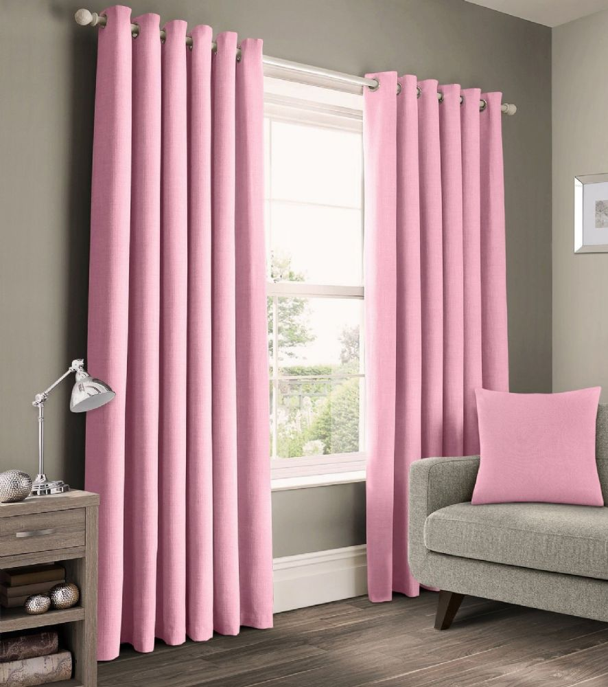 READY MADE PLAIN 100% COTTON MATERIAL UN-LINED RINGTOP EYELET PAIR OF CURTAINS BABY PINK